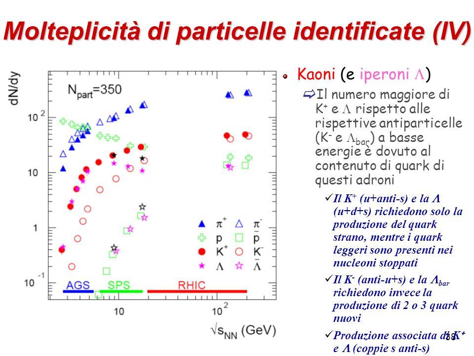 Molteplicità di particelle identificate (IV)