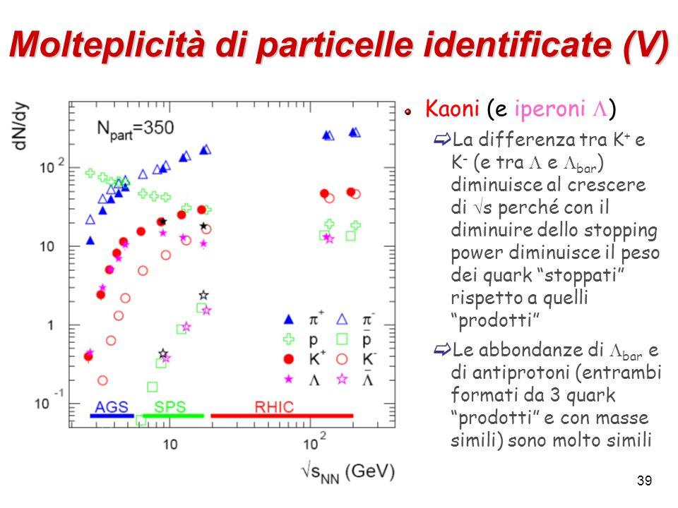Molteplicità di particelle identificate (V)