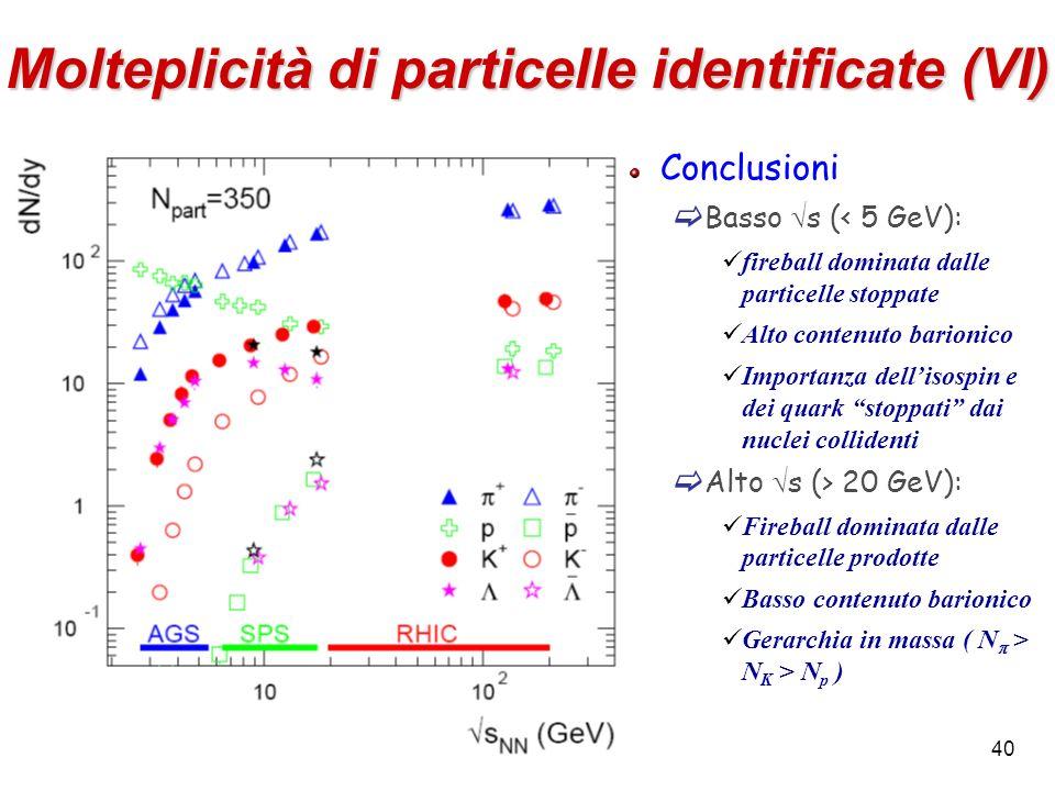 Molteplicità di particelle identificate (VI)