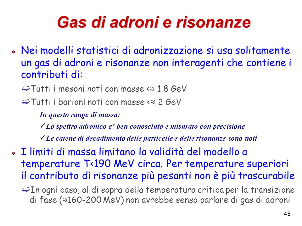 Gas di adroni e risonanze