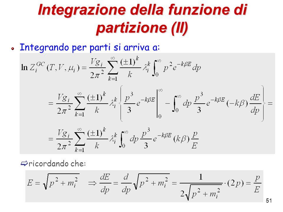 Integrazione della funzione di partizione (II)