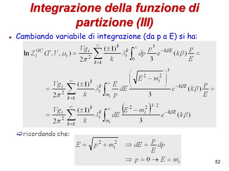Integrazione della funzione di partizione (III)