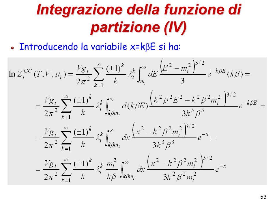 Integrazione della funzione di partizione (IV)