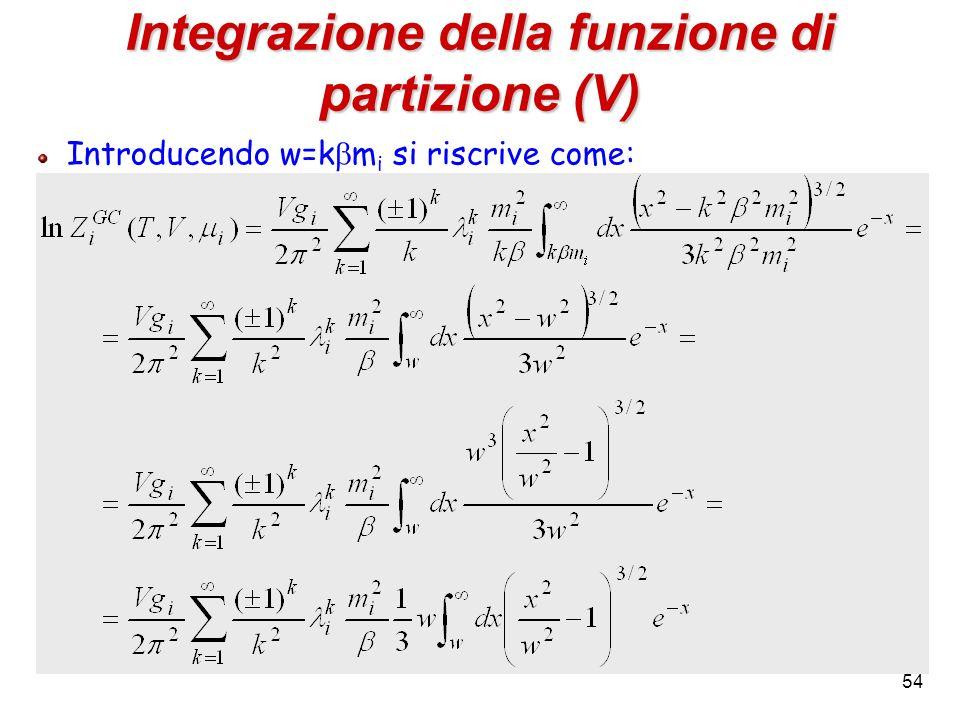 Integrazione della funzione di partizione (V)