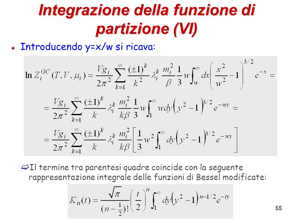 Integrazione della funzione di partizione (VI)