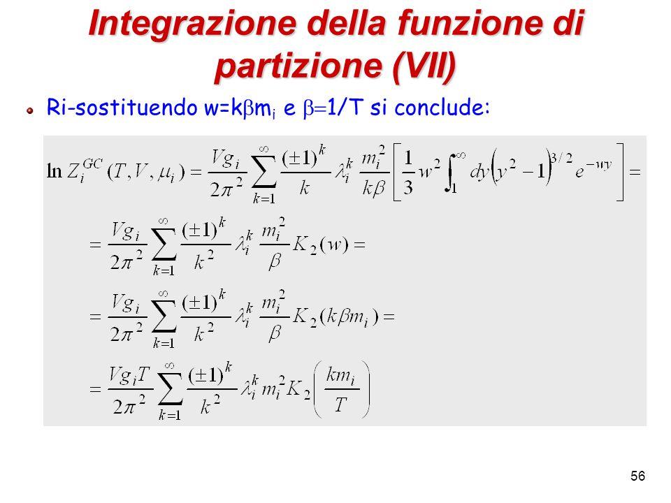 Integrazione della funzione di partizione (VII)