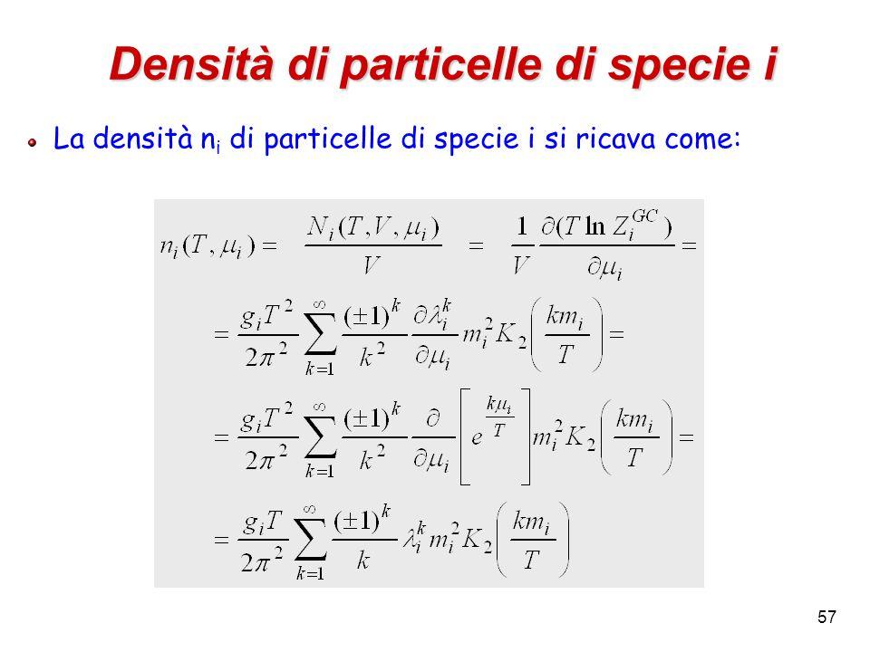 Densità di particelle di specie i
