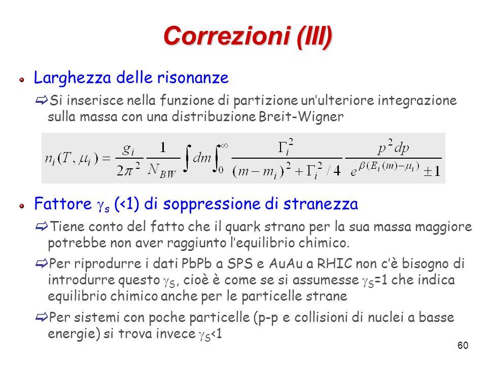 Correzioni (III) Larghezza delle risonanze
