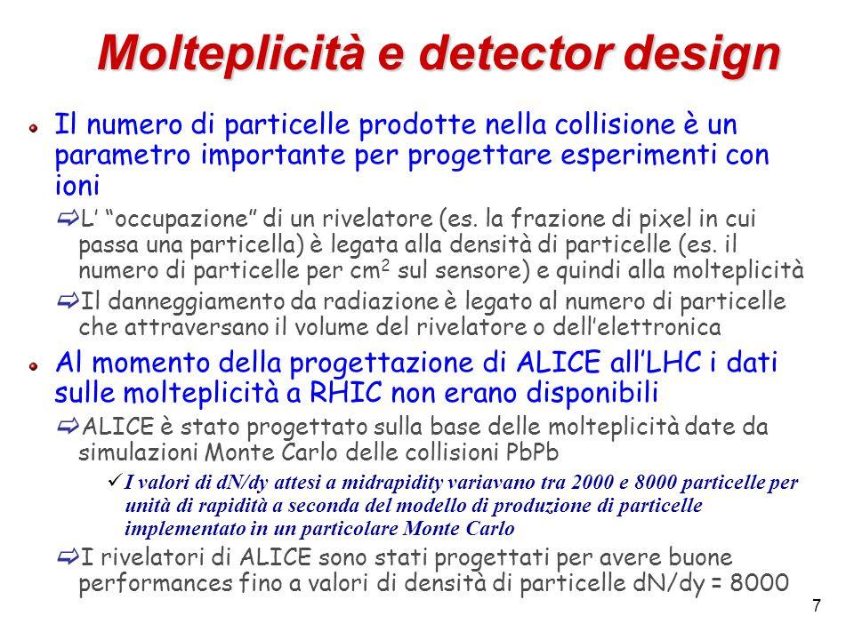 Molteplicità e detector design