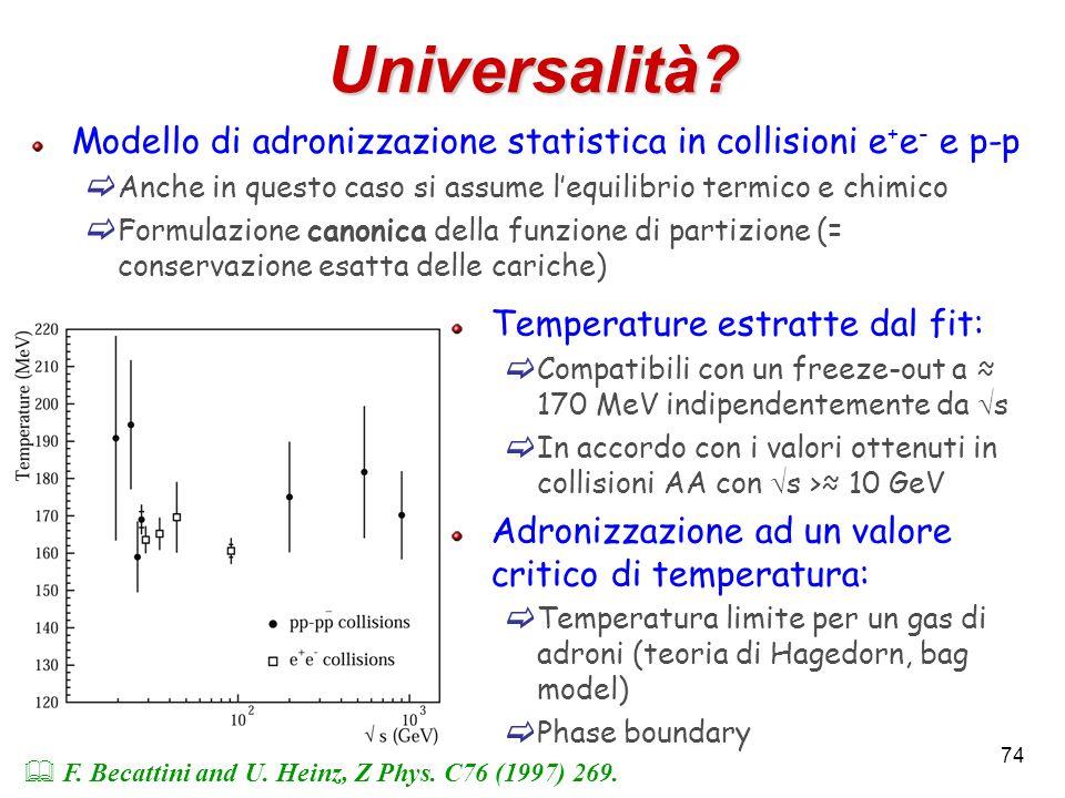Universalità Modello di adronizzazione statistica in collisioni e+e- e p-p. Anche in questo caso si assume l'equilibrio termico e chimico.