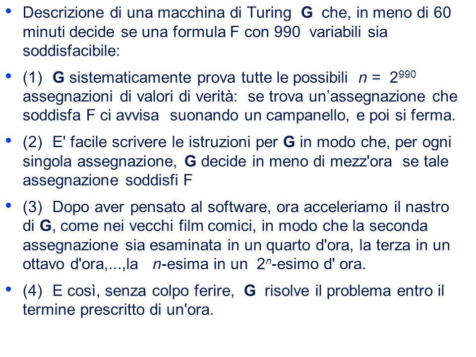 Descrizione di una macchina di Turing G che, in meno di 60 minuti decide se una formula F con 990 variabili sia soddisfacibile: