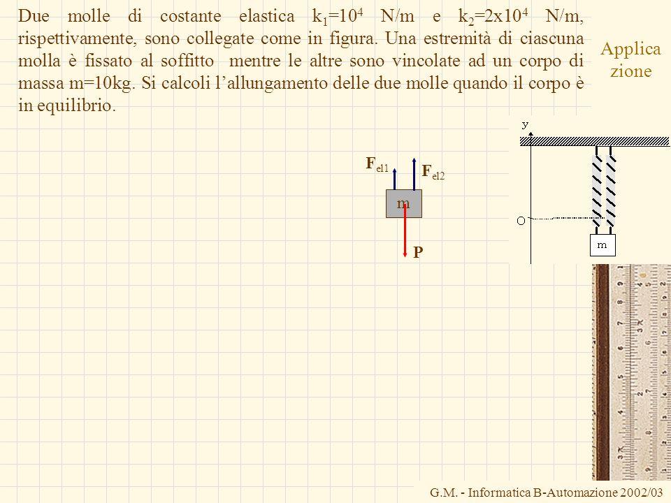 Due molle di costante elastica k1=104 N/m e k2=2x104 N/m, rispettivamente, sono collegate come in figura. Una estremità di ciascuna molla è fissato al soffitto mentre le altre sono vincolate ad un corpo di massa m=10kg. Si calcoli l'allungamento delle due molle quando il corpo è in equilibrio.
