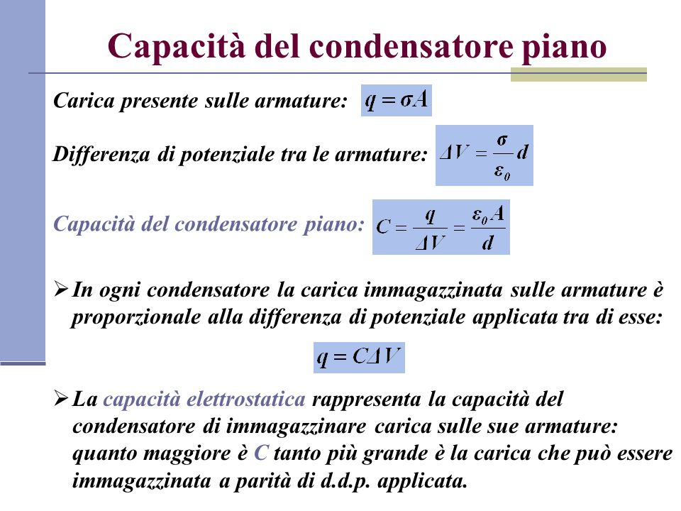 Capacità del condensatore piano