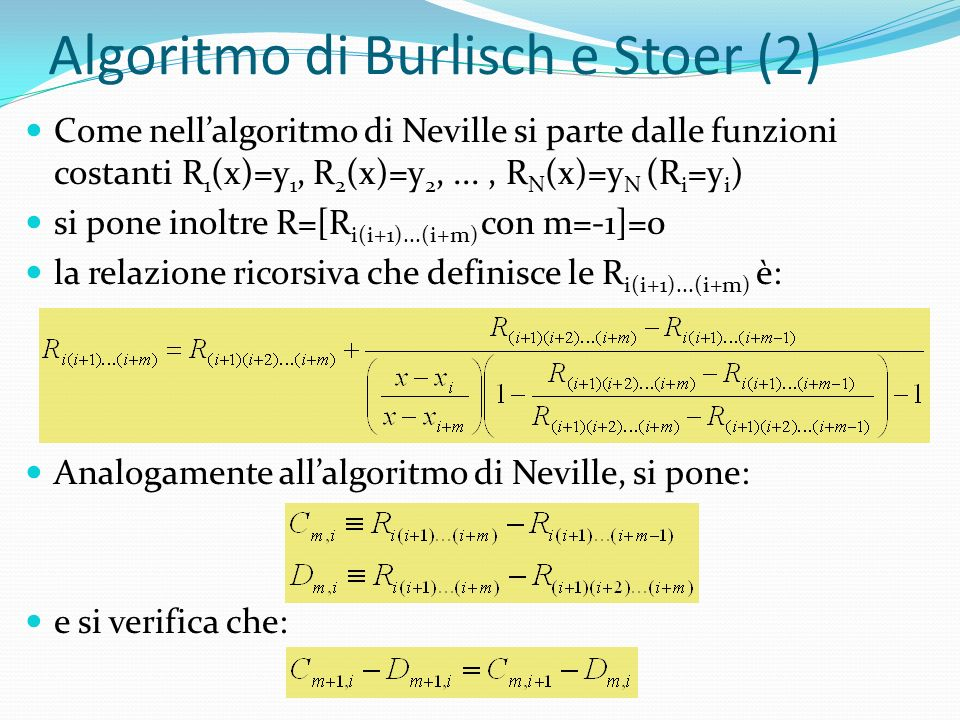 Algoritmo di Burlisch e Stoer (2)