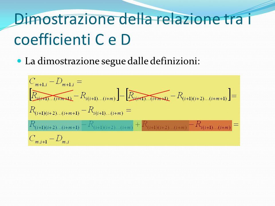 Dimostrazione della relazione tra i coefficienti C e D