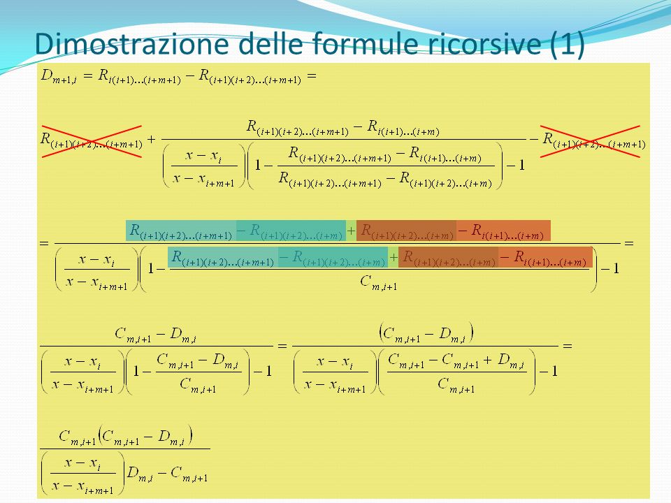 Dimostrazione delle formule ricorsive (1)