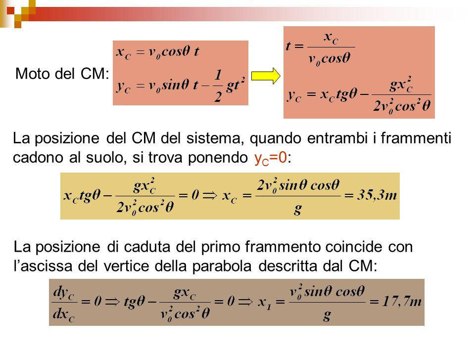 Moto del CM: La posizione del CM del sistema, quando entrambi i frammenti cadono al suolo, si trova ponendo yC=0: