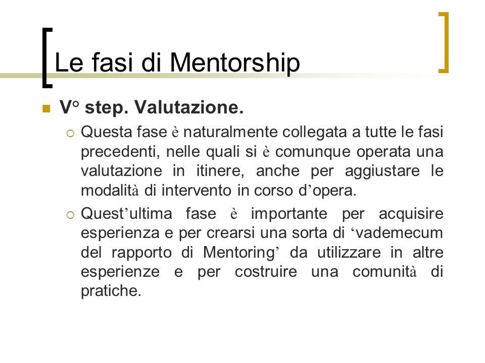 Le fasi di Mentorship V° step. Valutazione.