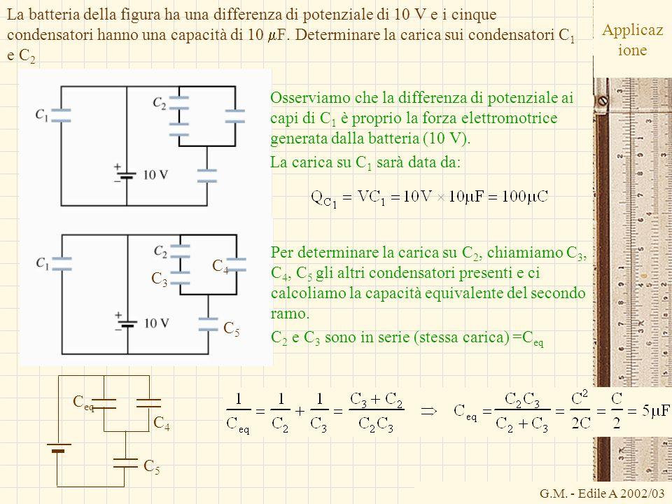 La batteria della figura ha una differenza di potenziale di 10 V e i cinque condensatori hanno una capacità di 10 mF. Determinare la carica sui condensatori C1 e C2