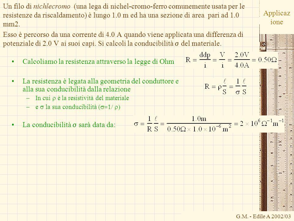 Calcoliamo la resistenza attraverso la legge di Ohm