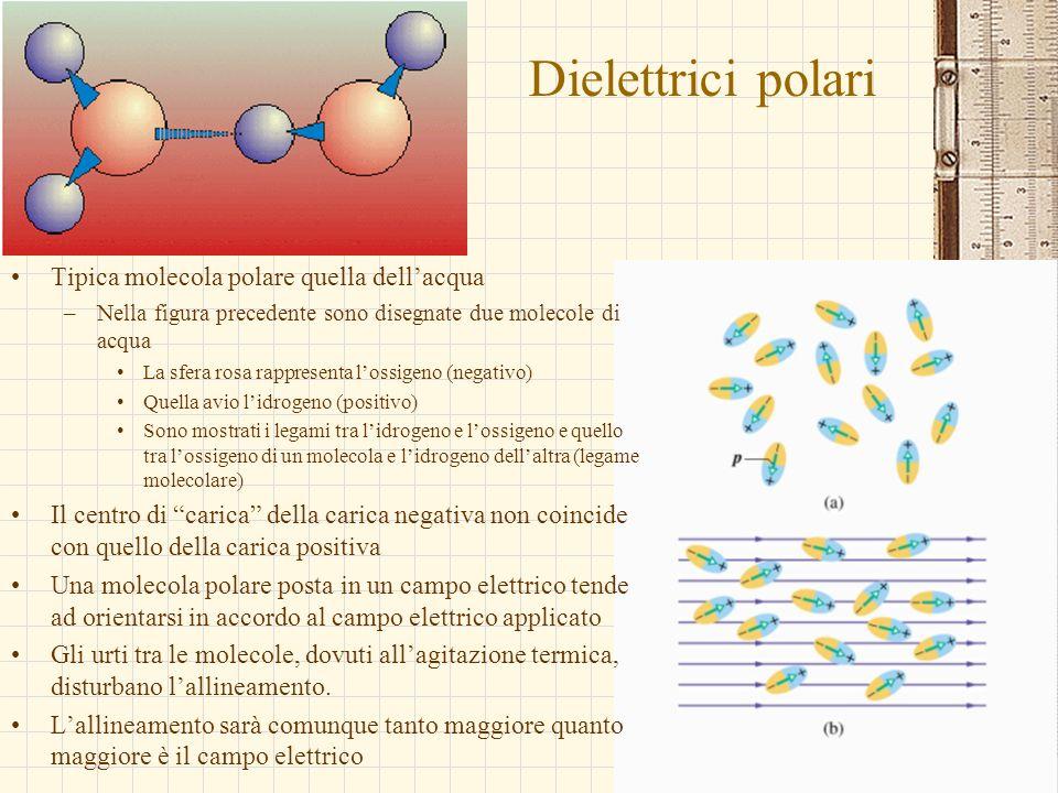 Dielettrici polari Tipica molecola polare quella dell'acqua