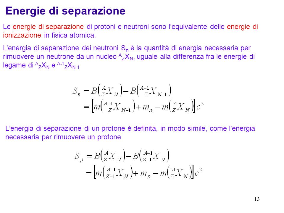 Energie di separazione