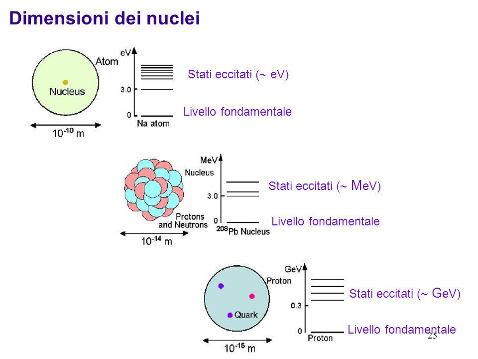 Dimensioni dei nuclei Stati eccitati ( eV) Livello fondamentale