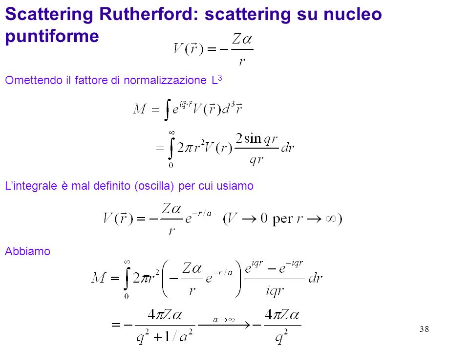 Scattering Rutherford: scattering su nucleo puntiforme
