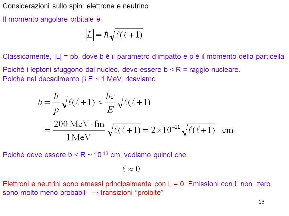 Considerazioni sullo spin: elettrone e neutrino