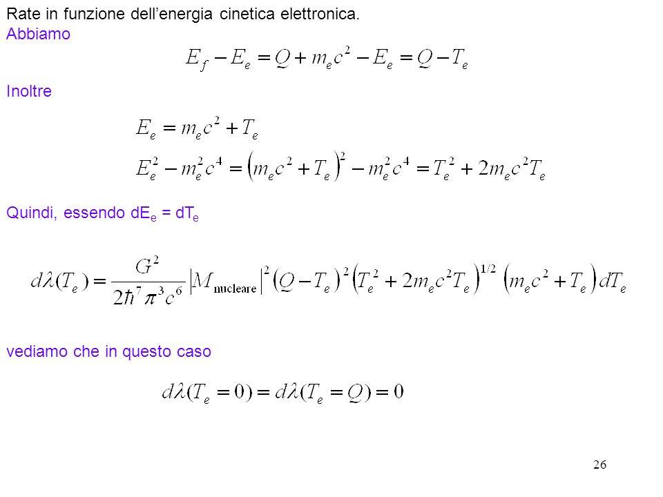 Rate in funzione dell'energia cinetica elettronica. Abbiamo