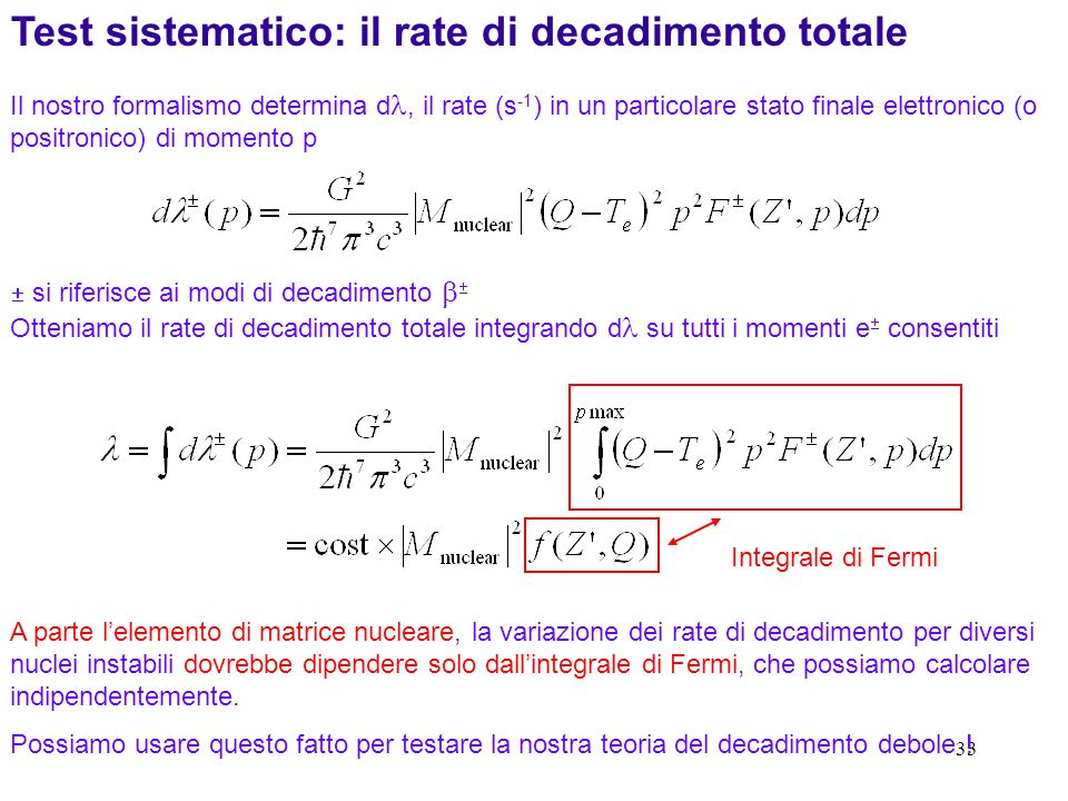 Test sistematico: il rate di decadimento totale