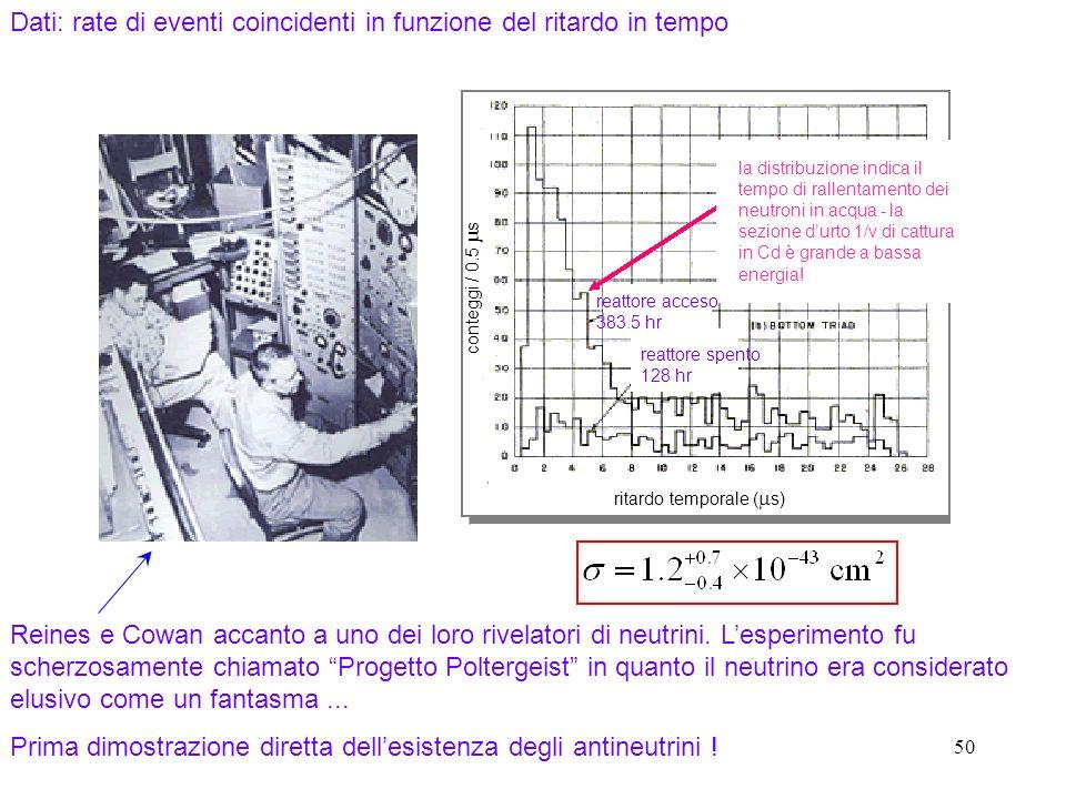 Dati: rate di eventi coincidenti in funzione del ritardo in tempo