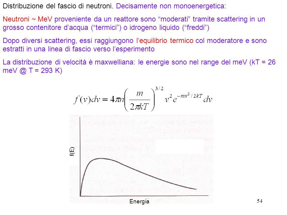 Distribuzione del fascio di neutroni. Decisamente non monoenergetica: