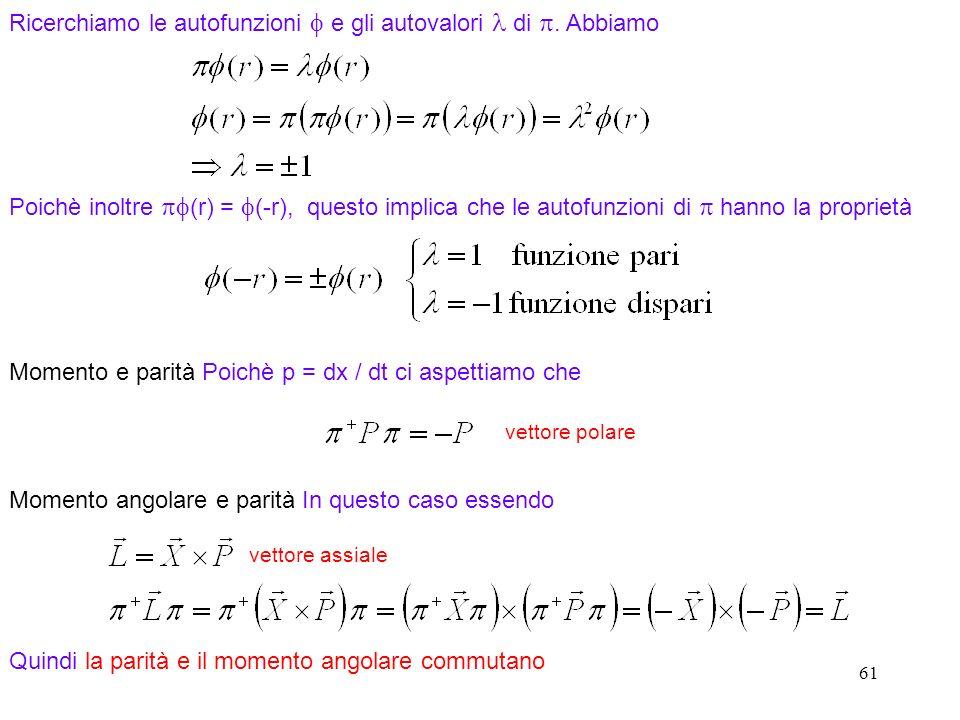 Ricerchiamo le autofunzioni f e gli autovalori l di p. Abbiamo