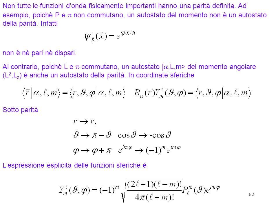 L'espressione esplicita delle funzioni sferiche è