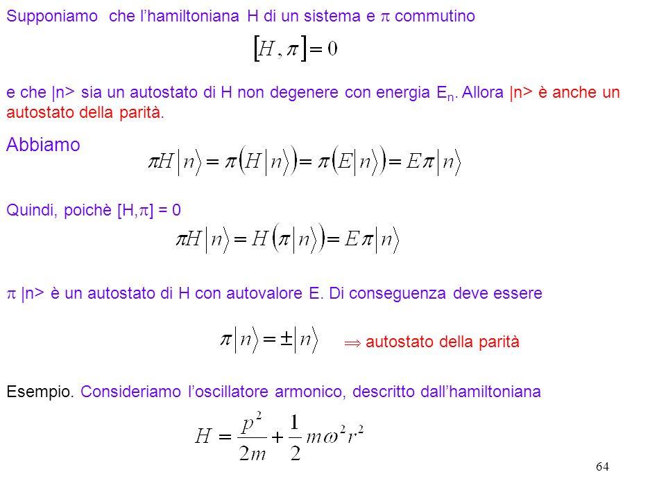 Supponiamo che l'hamiltoniana H di un sistema e p commutino
