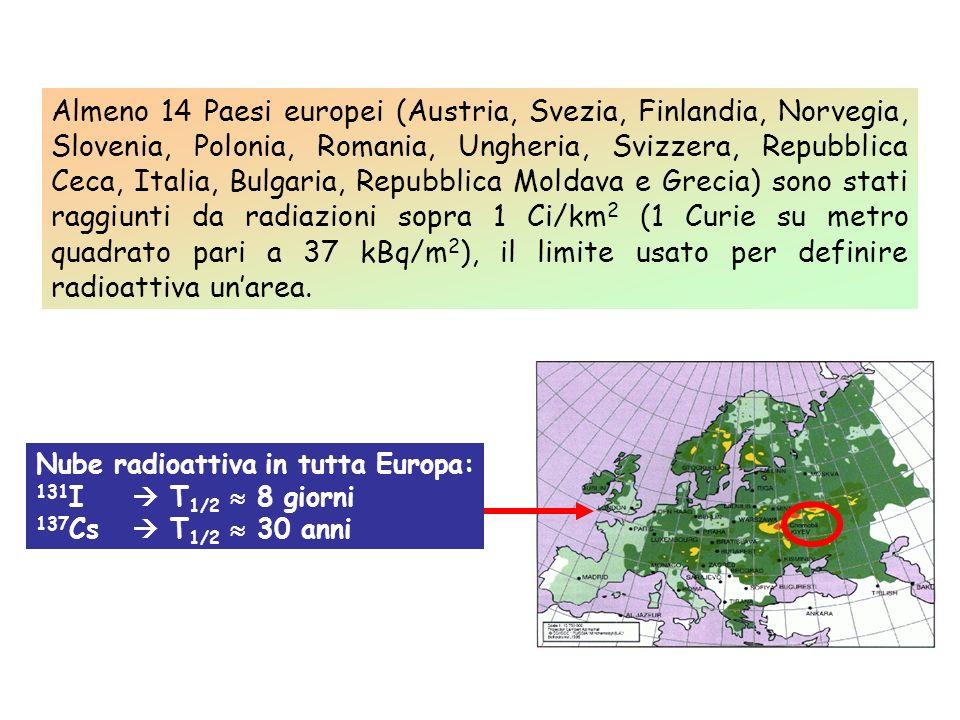 Almeno 14 Paesi europei (Austria, Svezia, Finlandia, Norvegia, Slovenia, Polonia, Romania, Ungheria, Svizzera, Repubblica Ceca, Italia, Bulgaria, Repubblica Moldava e Grecia) sono stati raggiunti da radiazioni sopra 1 Ci/km2 (1 Curie su metro quadrato pari a 37 kBq/m2), il limite usato per definire radioattiva un'area.