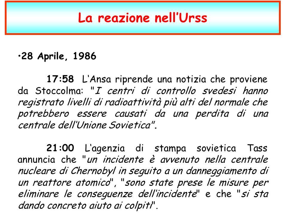 La reazione nell'Urss 28 Aprile, 1986