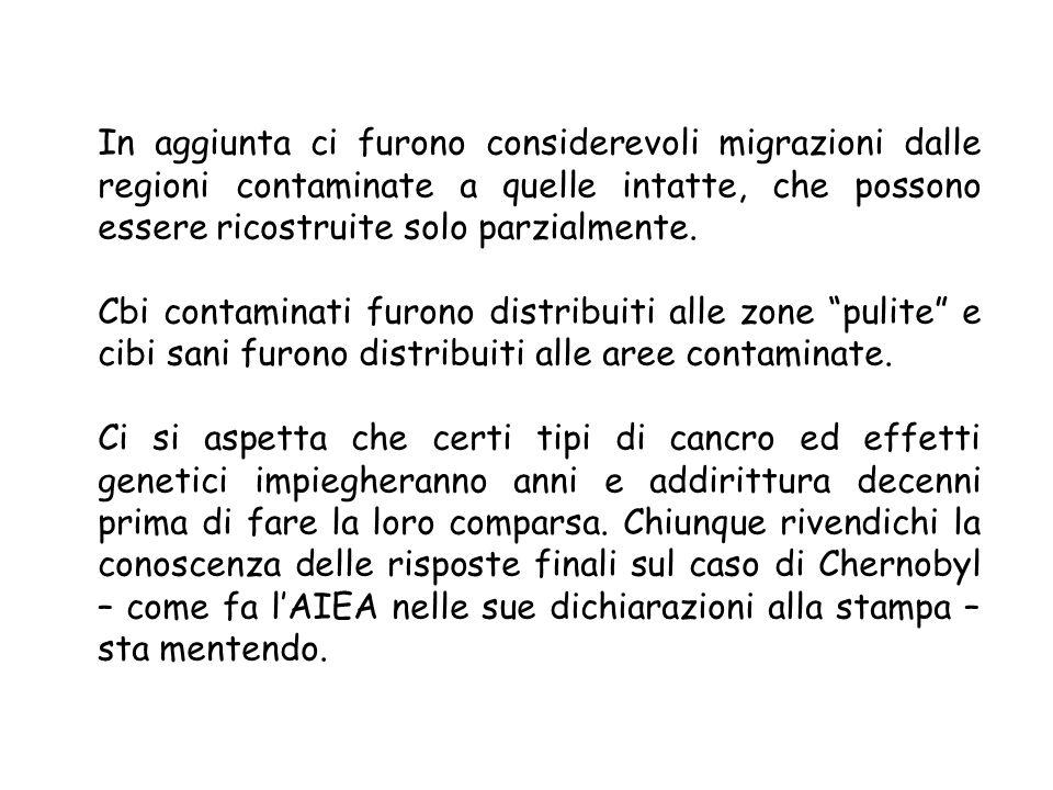 In aggiunta ci furono considerevoli migrazioni dalle regioni contaminate a quelle intatte, che possono essere ricostruite solo parzialmente.