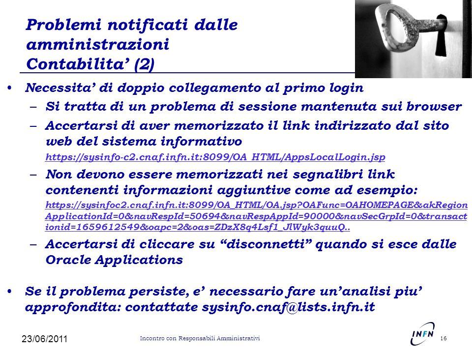 Problemi notificati dalle amministrazioni Contabilita' (2)