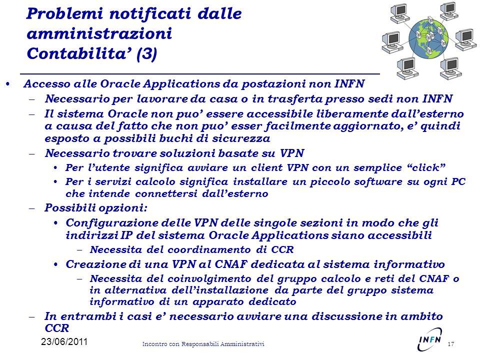 Problemi notificati dalle amministrazioni Contabilita' (3)