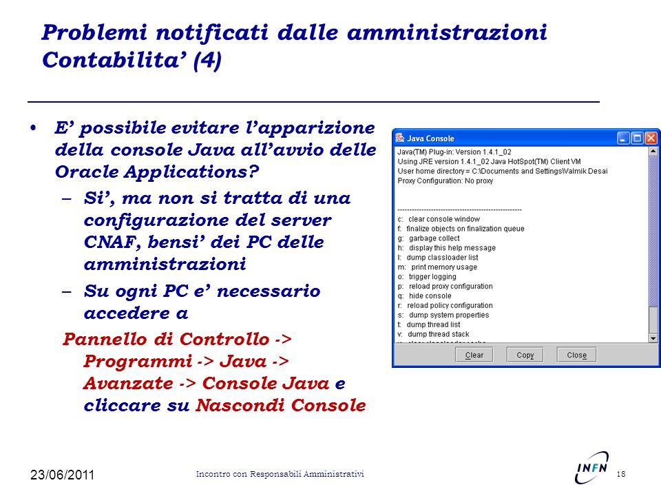 Problemi notificati dalle amministrazioni Contabilita' (4)