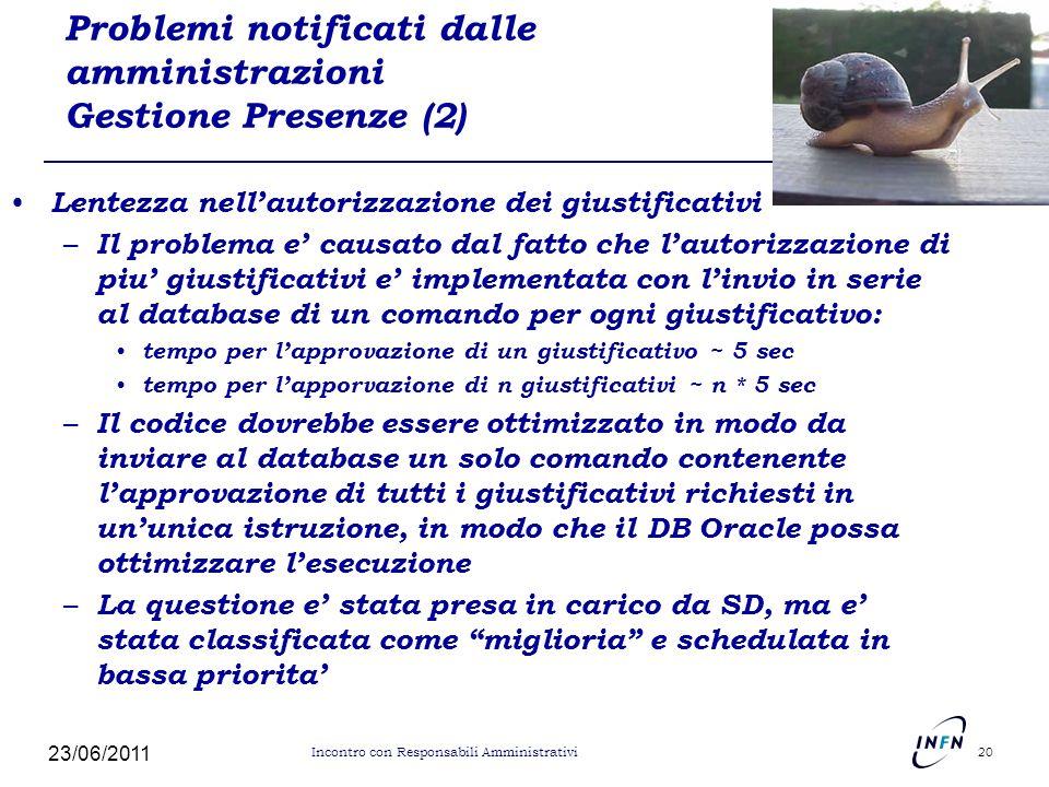 Problemi notificati dalle amministrazioni Gestione Presenze (2)