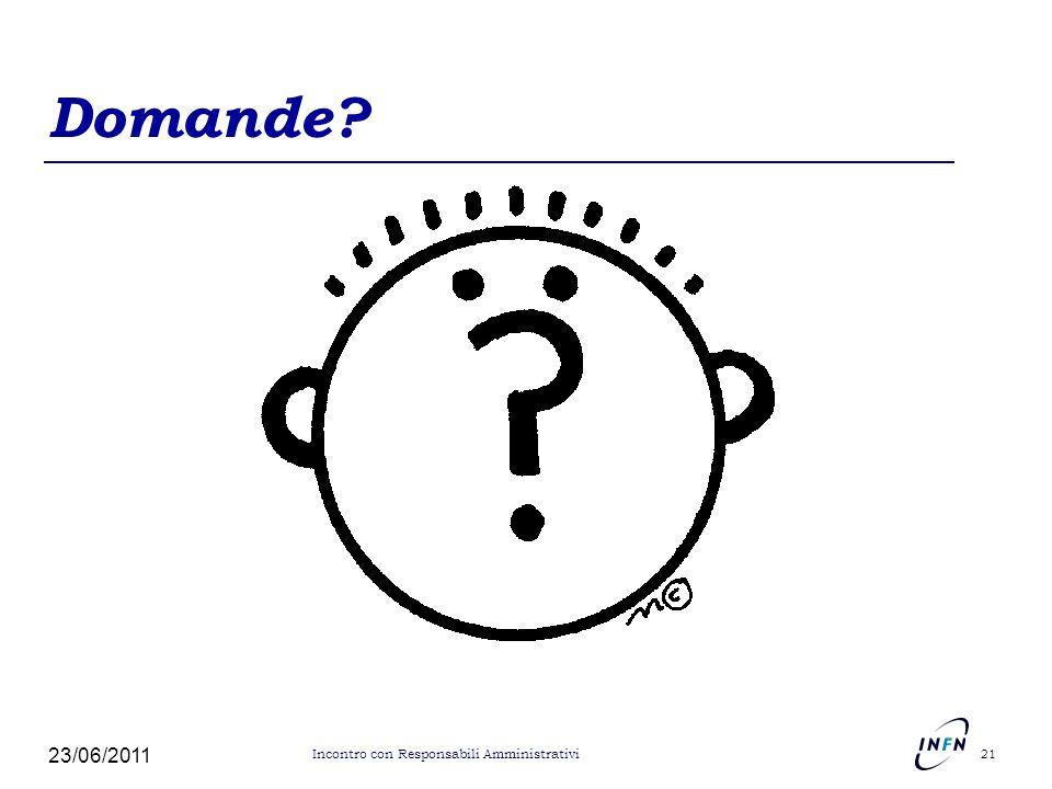 Domande 23/06/2011 Incontro con Responsabili Amministrativi