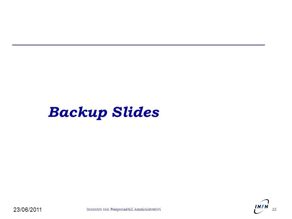Backup Slides 23/06/2011 Incontro con Responsabili Amministrativi