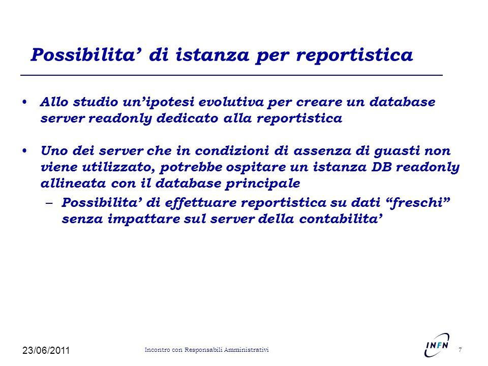 Possibilita' di istanza per reportistica