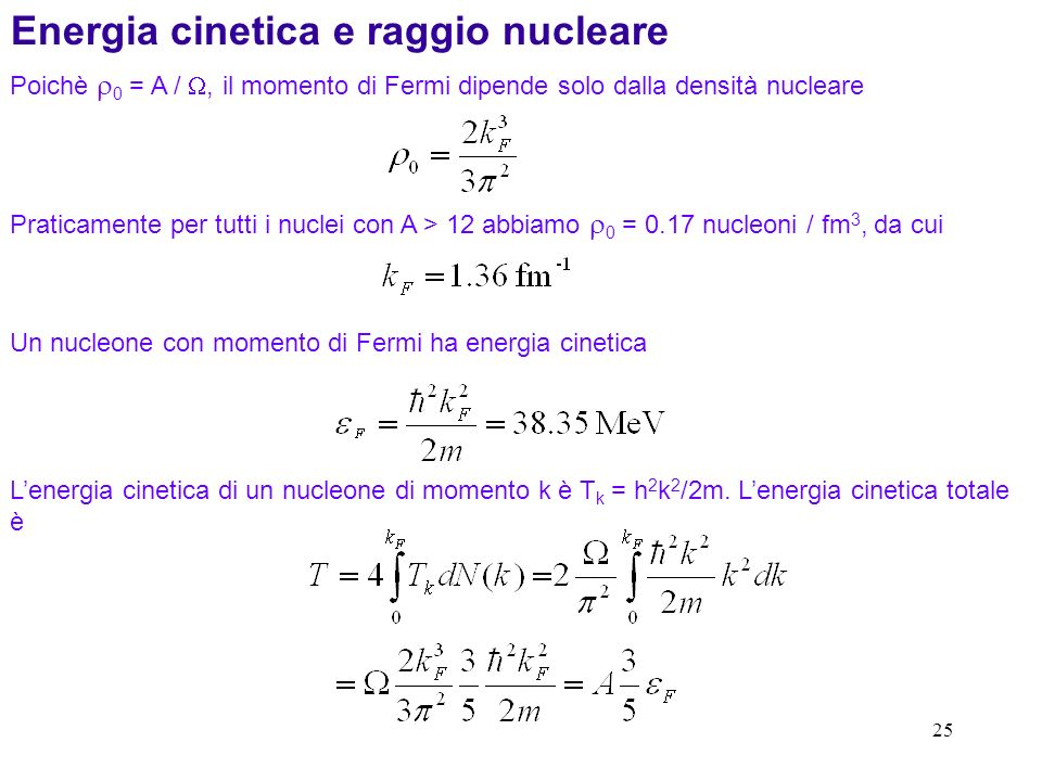 Energia cinetica e raggio nucleare