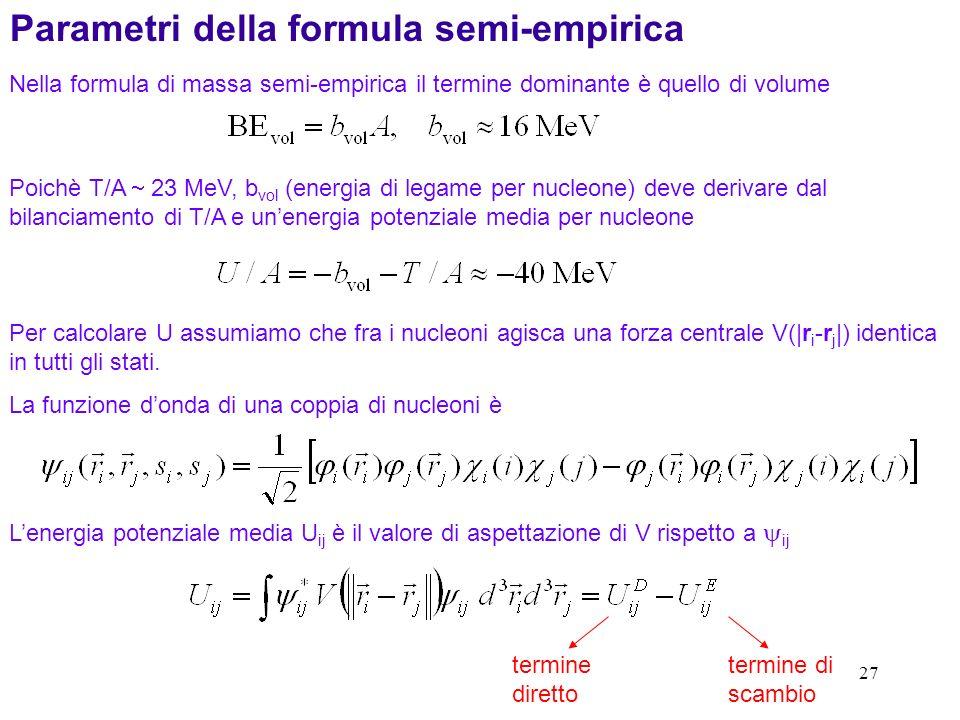 Parametri della formula semi-empirica