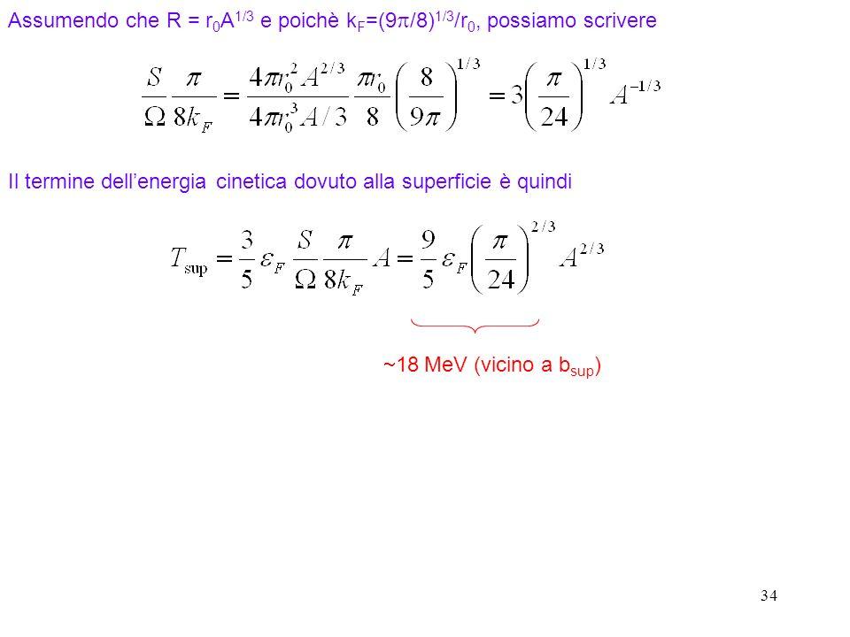 Assumendo che R = r0A1/3 e poichè kF=(9p/8)1/3/r0, possiamo scrivere