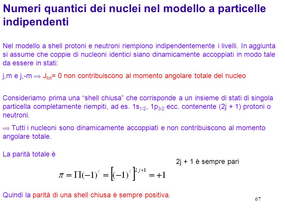 Numeri quantici dei nuclei nel modello a particelle indipendenti